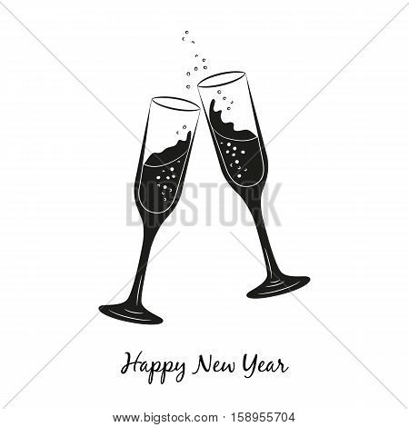 Two glasses of champagne for Merry Christmas and Happy New Year. Vector Illustration.