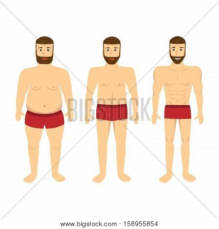 Changing lifestyle concept of diet. Man before and after a diet. Vector illustration.