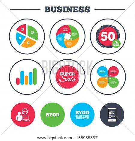 Business pie chart. Growth graph. BYOD icons. Human with notebook and smartphone signs. Speech bubble symbol. Super sale and discount buttons. Vector