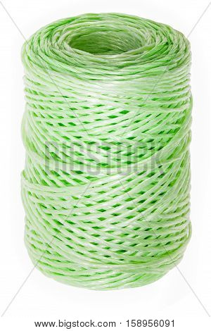 Roll of twine isolated on white background with clipping paths skein polypropylene rope for gardening and packaging