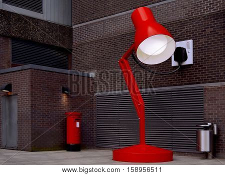 The big red desk lamp in Birmingham center