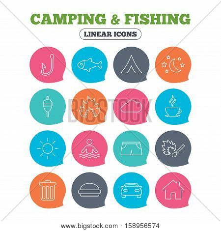 Camping and fishing icons. Tourist tent, fire and match symbols. Coffee cup and hamburger. Car and house. Fish, hook and float bobber thin outline signs. Flat speech bubbles with linear icons. Vector