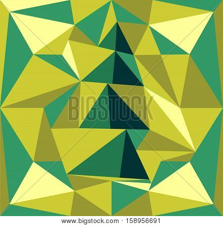 Illustration of a Christmas tree. Green Red background with prisms. Fashion trend.