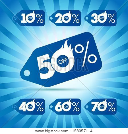 Discount labels for hot sale. Set of vector price-list label of 50%, 10%, 20%, 30%, 40%, 60%, 70% offer. Winter season, christmas and new year holidays fiery percent numbers on blue rays background.