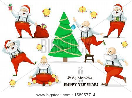 Santa Claus set of poses and emotions The symbol of the new year and Christmas