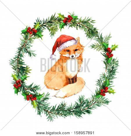 Christmas wreath with fox animal in red santa hat. Christmas watercolor