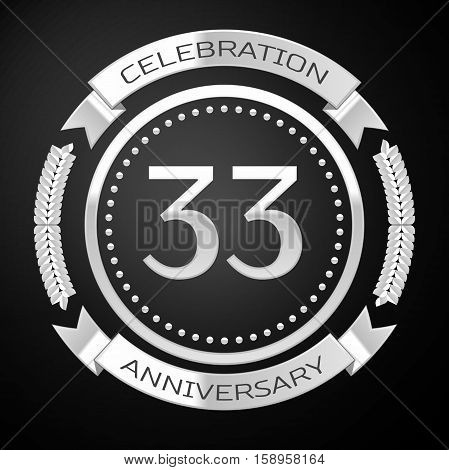 Thirty three years anniversary celebration with silver ring and ribbon on black background. Vector illustration