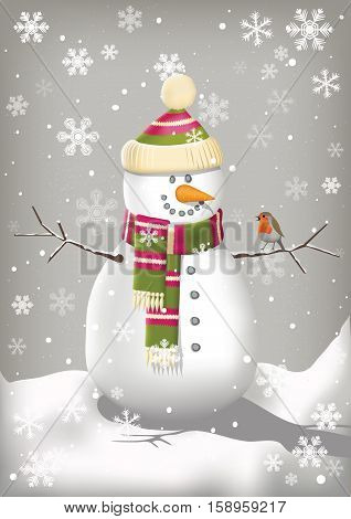 Happy snowman with a hat and scarf and a robin sitting on his arm.