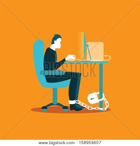 Office Worker Chained To A Chair In The Workplace