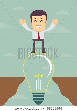 Business man on a bulb cross an abyss - the idea of a businessman helped to bridge the gap. Vector illustration
