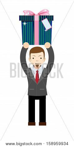 Businessman holding a gift box. Stock vector illustration