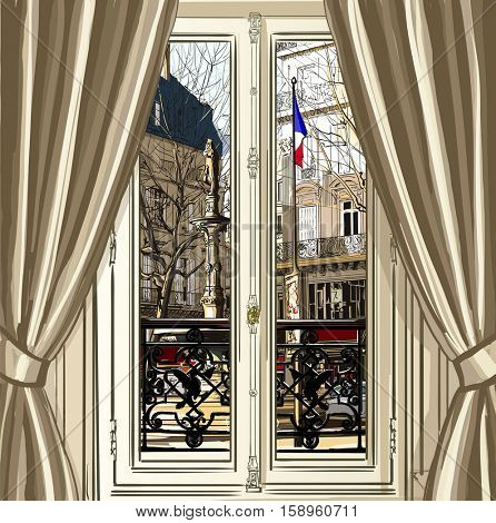 France, Paris, window opening on a street - vector illustration