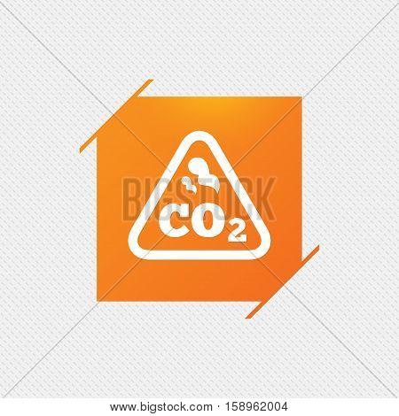 CO2 carbon dioxide formula sign icon. Chemistry symbol. Orange square label on pattern. Vector