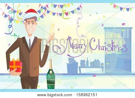 Business Man Celebrate Merry Christmas And Happy New Year Wear Santa Hat Flat Vector Illustration