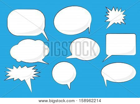 Speech bubbles set. White Vector icons isolated on blue. Comic, pop art style. Doodle, scetch blank elements for speak text, message.