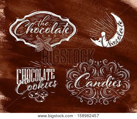 Set chocolate labels in vintage style lettering the chocolate cacao choco night cookies candies drawing on brown watercolor background