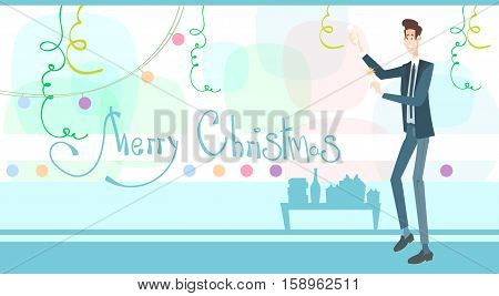 Business Man Celebrate Merry Christmas And Happy New Year Flat Vector Illustration