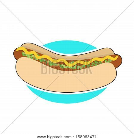 A hot dog in a bun with mustard and relish