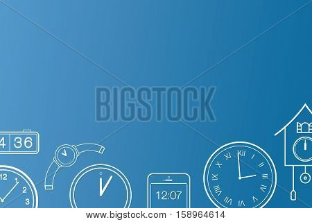 Vector illustration of running out of time concept. Clock is ticking concept. Collection of clocks. Email banner background overlay.