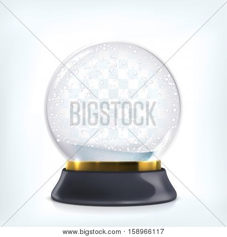 Vector transparent glass snow globe. Christmas crystal ball with flying snowflakes