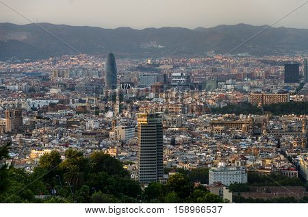 Panoramic view on Barcelona places of interest from Montjuic mountain, summer Spain