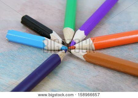 Crayons in a various colors. Small wooden crayons.