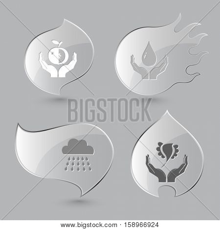 4 images: apple in hands, protection blood, rain, bird in hands. Nature set. Glass buttons on gray background. Fire theme. Vector icons.