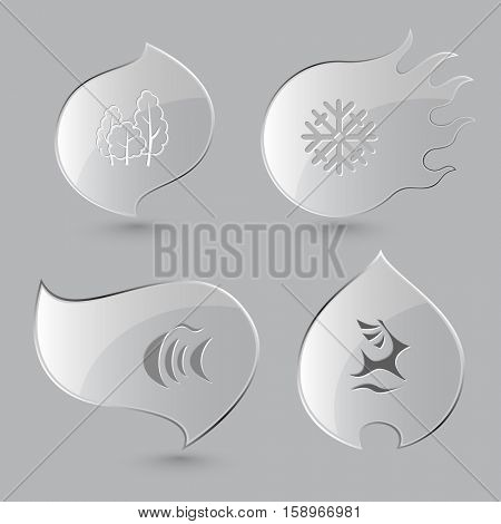 4 images: trees, snowflake, fish, deer. Nature set. Glass buttons on gray background. Fire theme. Vector icons.