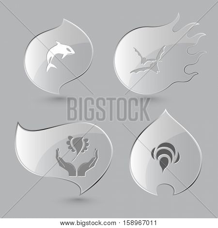 4 images: killer whale, bats, bird in hands, bee. Animal set. Glass buttons on gray background. Fire theme. Vector icons.