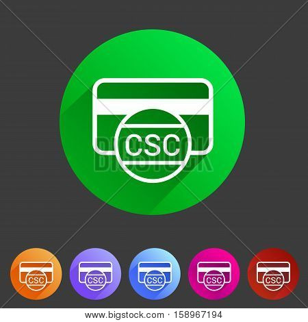 CSC card security code credit card icon flat web sign symbol logo label set