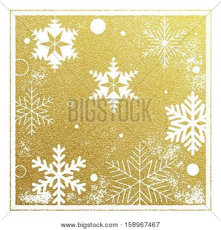 Golden background pattern of snowflakes Christmas card. Vector pattern of winter golden and silver snowflakes. Falling holiday snow. Festive decorative Christmas or New Year gift wrapping paper