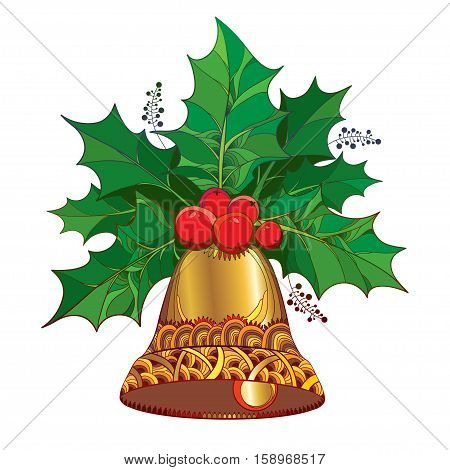 Vector branch with leaves and berries of Ilex or Holly berry and ornate golden bell isolated on white background. Traditional Christmas and Happy New Year symbol in contour style for winter design.