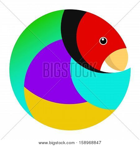 logo design in a circle. stylized finch. white background
