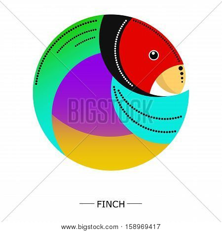 Round image of finch with pattern. white background