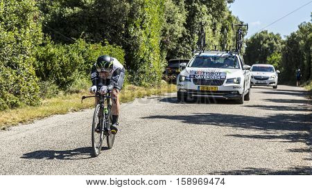 Les ArredonsFrance - July 152016: The Manx cyclist Mark Cavendish of Dimension Data Team riding during an individual time trial stage in Ardeche Gorges during Tour de France 2016.