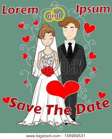 Save the Date, Wedding Celebration, Mr and Mrs Getting Married, Invitation, Poster, Cover, Greeting, EPS10