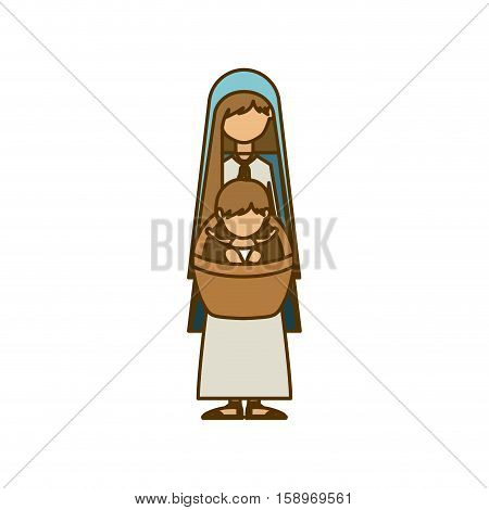 Holy mary and baby jesus icon. Nativity merry christmas season and decoration theme. Isolated design. Vector illustration
