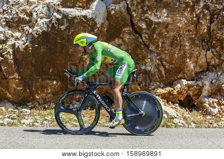 Col du Serre de TourreFrance - July 152016: The Slovak cyclist Peter Sagan of Tinkoff Team in Green Jersey is riding during an individual time trial stage in Ardeche Gorges on Col du Serre de Tourre during Tour de France 2016.