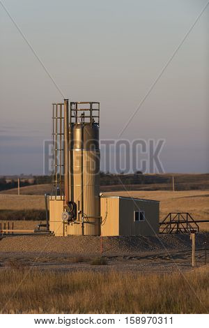 An active oil well in North Dakota