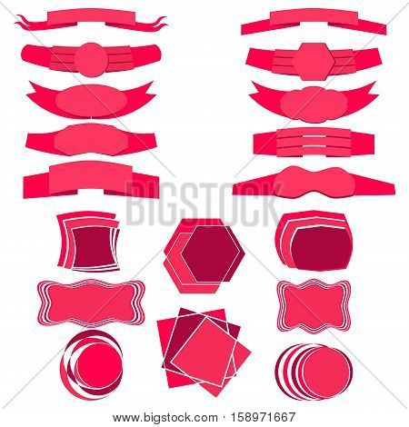 Set of Flat Ribbons and Banners Isolated on White Background. Vector EPS 10
