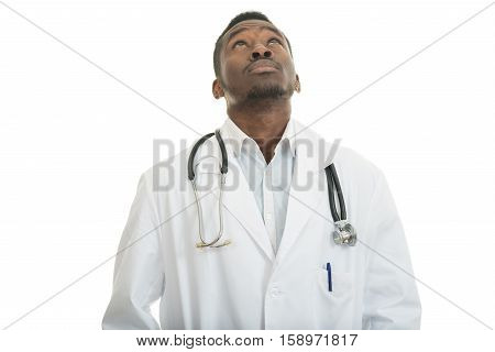 Closeup portrait of clueless black doctor health care professional, with stethoscope, has no answer, doesn't know right diagnosis, isolated on white background. Emotion facial expression