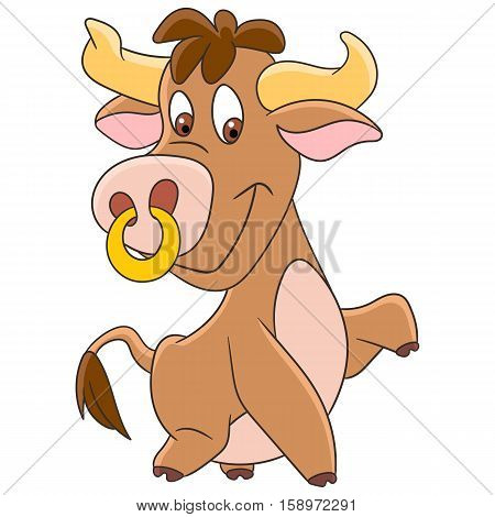 Cute and happy cartoon american bull (buffalo ox bison) isolated on white background. Childish vector illustration and colorful book page for kids.