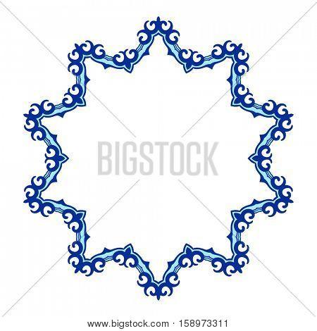 Kazakh round frame, Circular ornament design element, Vector