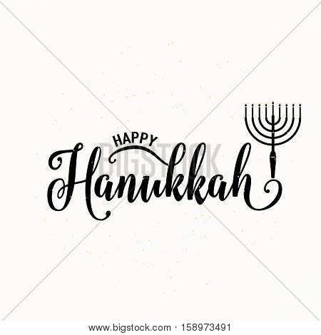 Vector illustration of happy Hanukkah lettering text sign isolated on white background. Judaism candelabrum symbol. Hanukkah logo for greeting card template