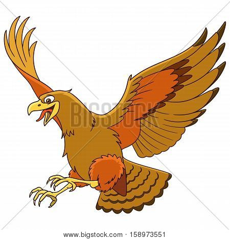 Cute cartoon eagle bird (hawk condor falcon) isolated on white background. Childish vector illustration and colorful book page for kids.