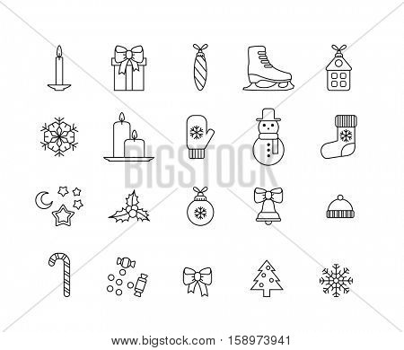 set of minimalistic christmas icons