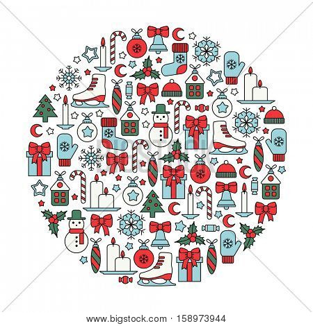 round design element with colorful christmas icons