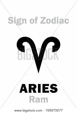 Astrology Alphabet: Sign of Zodiac ARIES (The Ram). Hieroglyphics character sign (single symbol).