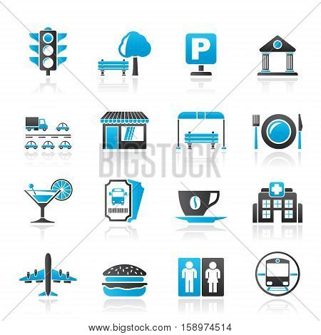 Urban and city elements icons - vector icon set