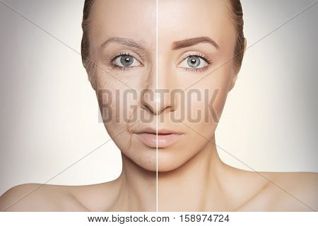 tow halves of caucasian woman face, old and young